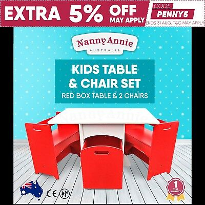 Kids Table and Chair Set Red Box Table & 2 Chairs Toddler Chidren Furniture