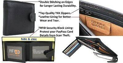 RFID Security Lined Leather Wallet. Quality Full Grain Cow Hide Leather. 11025.
