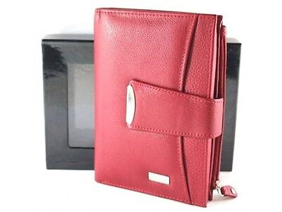 RFID Security Lined Quality Full Grain Cow Hide Leather Purse. RED Style: 23056.
