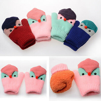 Cartoon Winter Warm Toddlers Girls Boys Baby Kids Infant knitted Gloves Mittens