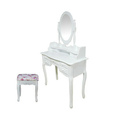 White Bedroom Modern Dressing Table Makeup Desk with Stool Oval Mirror 7 Drawers