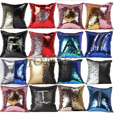 Double Color Reversible Mermaid Pillow Sequin Cover Glitter Sofa Cushion Case