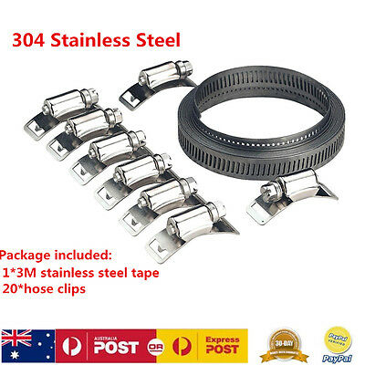 304 Stainless Steel Hose Clips Kit 3M Fastener Tape For DIY Clamp Hardware Tools