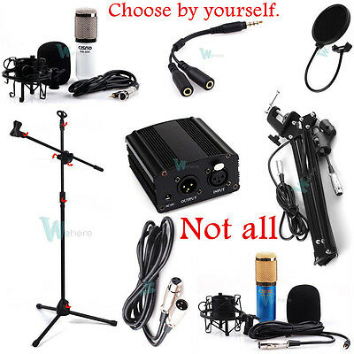 Professional Condenser Microphone Studio Sound Record System/Power/Arm Stand Set