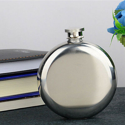 1PC Portable5 OZ Specular Glossy Hip Flask Stainless Steel Circular Type Flagon