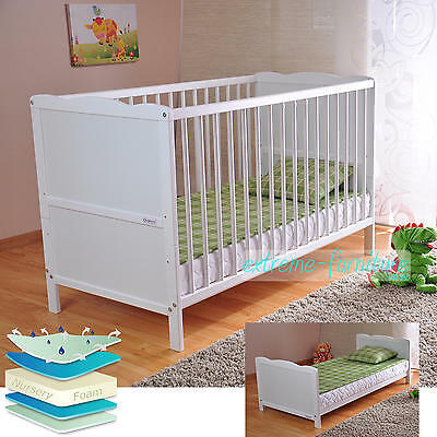 White Solid Wood Baby Cot Bed & Deluxe Foam Mattress Converts to Junior Bed