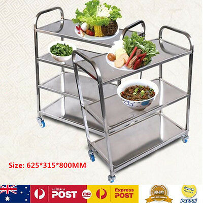 80Cm 3 Tiers Stainless Steel Kitchen Dining Trolley Island Serving Utility Cart