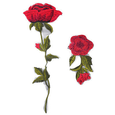 2x Vintage Red Rose Flower Sew On Patch Badges Embroidered Lace Applique Cloth
