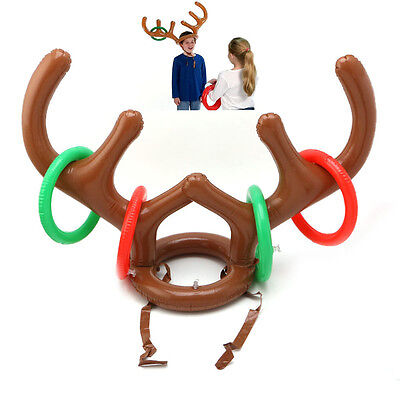 Inflatable Deer Head Ferrule Ring Throwing Children Outdoor Game Christmas Toys