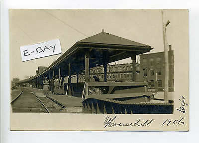 Haverhill MA Mass RPPC real photo 1906 Boston & Maine railroad station, people