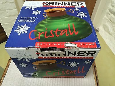 Vintage German Green Glass Christmas Tree Stand Holder Boxed