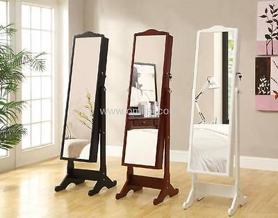 New Wooden Standing Full Length Mirror Jewelry Jewellery Box Cabinet (2 colors)