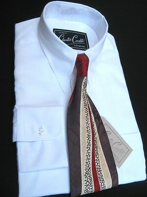 1940s Vintage Style White Men's Spearpoint Collar Shirt by Chester Cordite