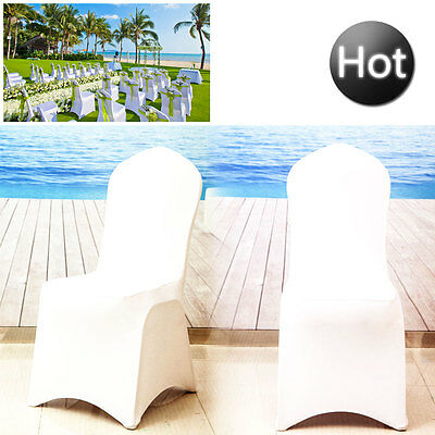White Flat Arched Front Covers Spandex Lycra Chair Cover Wedding Party Décor UK