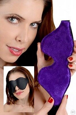 Strict Leather Black Blindfold with Purple Fur Lining Sleep Aid