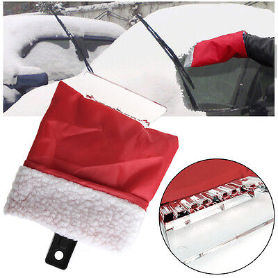 Car Snow Ice Shovel Scraper Glove With Lined Removal Cleaning Tool Red