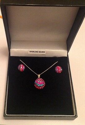 Sterling Silver Diamante Ball Necklace & Earring Set New In Bo