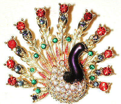 Vintage Peacock Pin Ruby Red Sapphire Green Rhinestones Gold Gilt Signed Sphinx