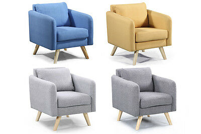 Modern Fabric Armchair Occasional Bedroom Chair Footstool Grey Yellow Blue