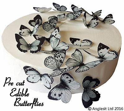 Pre-Cut Beautiful Black & Grey Butterfly Edible Wafer Cup Cake Topper Decoration