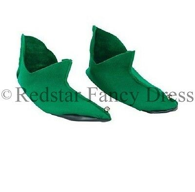 Green Elf Shoe Boot Covers Xmas Fancy Dress Christmas Elf Pixie Santa