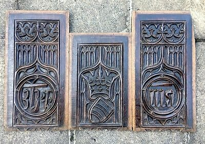 3 x 16th Century French Antique Oak Blind Gothic Tracery Panels C1500 Carved Oak