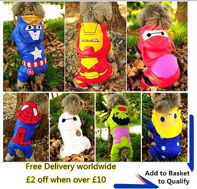 Superhero superman Hulk Thor Hoodie Jacket Dog Costumes Puppy Clothes