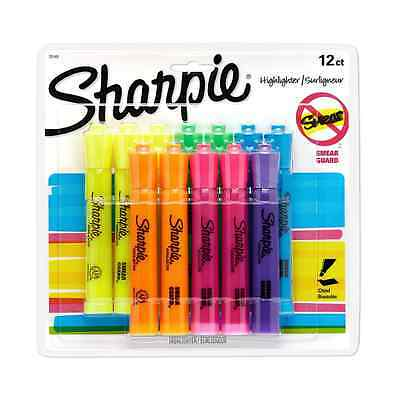 Sharpie Tank Highlighters, Chisel Tip, Assorted Fluorescent, 12-Count