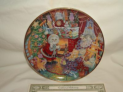 Franklin Mint Not A Creature Was Purring Christmas Cat Collector Plate