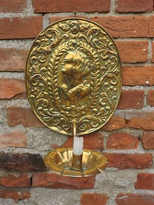18th Century Antique Brass Wall Reflector Candlestick Period Lighting