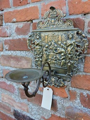 19thC Renaissance Revival Antique Brass Wall Reflector & Sconce Candlestick