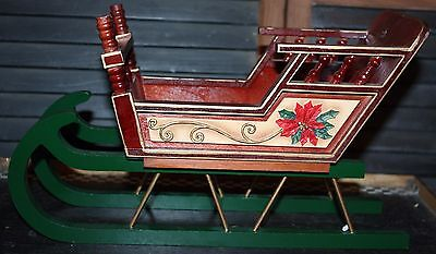 BEAUTIFUL VINTAGE LOOK NAPA VALLEY 13x7x5 WOODEN SLEIGH w/REMOVEABLE RUNNERS