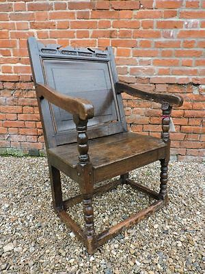 17thC English Antique Oak Wainscot Armchair, Circa 1630 , Throne Chair