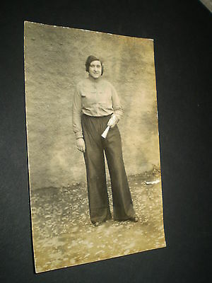 social history 1930's fashion lady in trousers with horn ? rp photo postcard