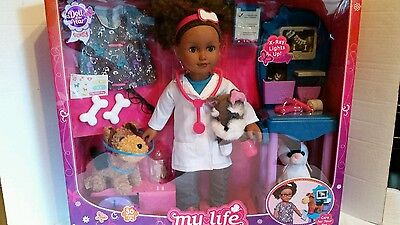 "My Life As 18"" Vet Doll Play Set African American Girls Boys Cute Dogs Puppies"