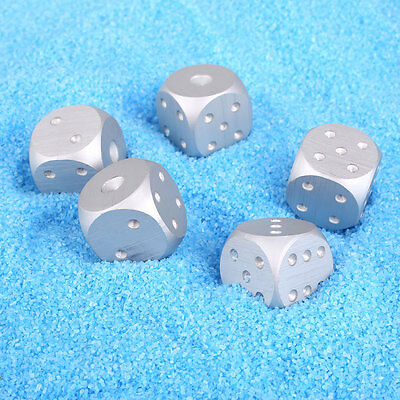 5Pcs Aluminum Alloy Dice Set Metal Case for Party Home Poker Play Games Silver