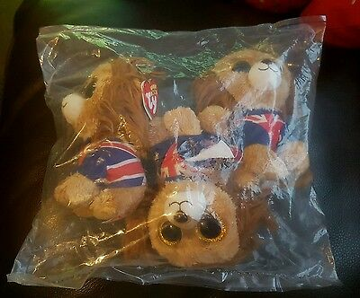 3 xTY beanie boo HERO the lion Large rare retired still in bag with tags