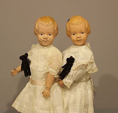 SCHOENHUT  WOOD  DOLLS  With  CARVED HEAD With BOW IN HAIR (PAIR) #14/101