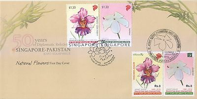 Singapore 2016 Pakistan Joint Issue National Flowers Both Sets First Day Cover