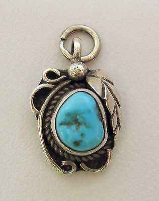 Vintage Native American Indian Silver Turquoise Leaf Pendant, Stamped F H or H J