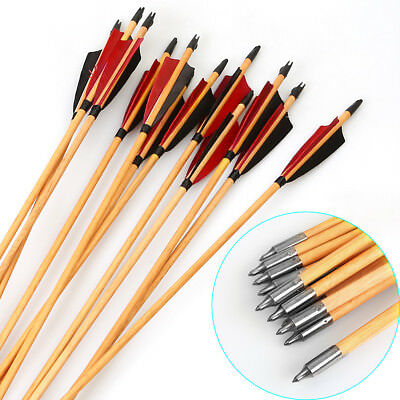 """Traditional Wood Arrows Turkey Feather 33"""" Archery For Longbow Recurve 12PCS"""