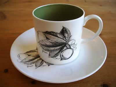 Susie Cooper Black Fruit Coffee Cup and Saucer - Grape
