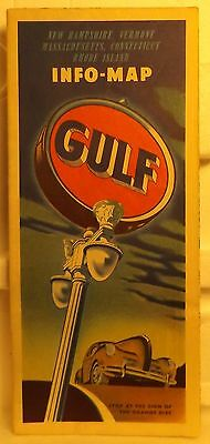 GULF OIL COMPANY  Map of New England States Vintage