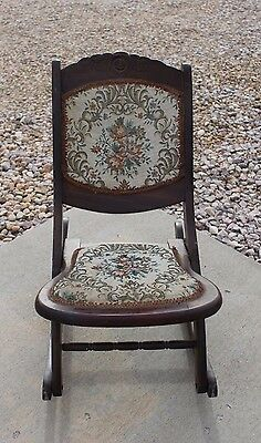 Antique Victorian Folding Upholstered Rocking wooden chair