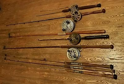 8 Vintage Steel & Brass Fishing Rods 5 with Reels & 4 Brass Roller Tips Guides