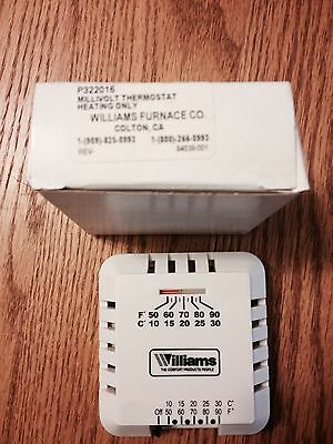 Williams Furnace Co P322016 Low Voltage Thermostat (Heating Only), New