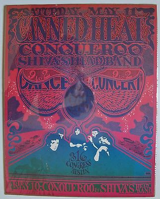 1968 Vulcan Gas Company Concert Poster #21 Conqueroo Canned Heat Gilbert Shelton
