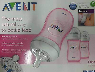 Avent Bottles, 9 oz, 3 Ct - Colors May Vary