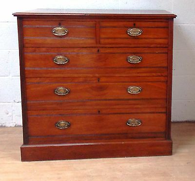Late Victorian Walnut Chest Of Drawers Three Over Two