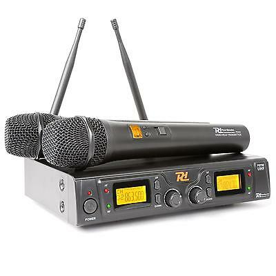 Power Dynamics Wireless 2 X 8 Channel Uhf Microphone Hand Held Stage Vocal Lcd